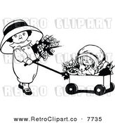 Vector Clipart of a Retro Black and White Girls with Flowers a Rabbit and Wagon by Prawny Vintage