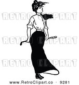 Vector Clipart of a Retro Black and White Lady Golfing by Prawny Vintage