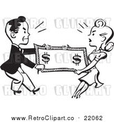Vector Clipart of a Retro Black and White Man and Woman Fighting over Money by BestVector