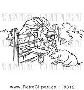 Vector Clipart of a Retro Black and White Old Woman and Pig by Prawny Vintage