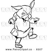 Vector Clipart of a Retro Black and White Pig Throwing a Tantrum by Prawny Vintage
