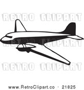 Vector Clipart of a Retro Black and White Plane by BestVector