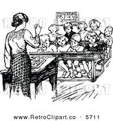 Vector Clipart of a Retro Black and White Sketch of a Teacher Speaking in Front of Her Students by Prawny Vintage