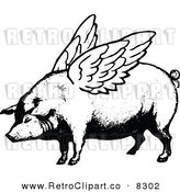 Vector Clipart of a Retro Black and White Winged Pig by Prawny Vintage