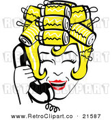 Vector Clipart of a Retro Blond Housewife with Her Hair in Curlers, Laughing While Talking on a Landline Telephone by Andy Nortnik