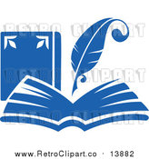 Vector Clipart of a Retro Blue Quill Pen Writing in an Open Book by Vector Tradition SM