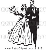 Vector Clipart of a Retro Bride and Groom Walking Arm in Arm by BestVector
