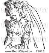 Vector Clipart of a Retro Bride in a Veil and Dress by BestVector