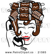 Vector Clipart of a Retro Brunette Housewife with Her Hair in Curlers, Laughing While Talking on a Landline Telephone by Andy Nortnik