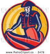 Vector Clipart of a Retro Bullfighter Matador Swishing His Cape in an Orange Circle by Patrimonio