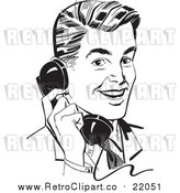 Vector Clipart of a Retro Business Man Chatting on a Phone by BestVector