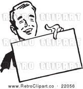 Vector Clipart of a Retro Business Man Holding out a Blank Sign by BestVector