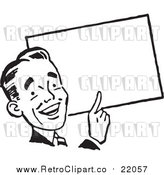 Vector Clipart of a Retro Business Man Pointing to a Blank Sign by BestVector