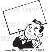 Vector Clipart of a Retro Business Man Winking and Holding a Blank Sign by BestVector
