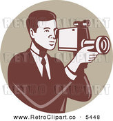 Vector Clipart of a Retro Camera Man Using a Video Recorder in a Tan Circle over White by Patrimonio