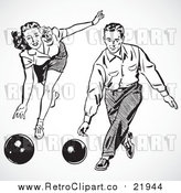 Vector Clipart of a Retro Couple Bowling by BestVector