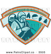 Vector Clipart of a Retro Exterminator Pest Control Worker Man Using Spray on a Shield with a Rat Mouse Fly and Cockroach by Patrimonio