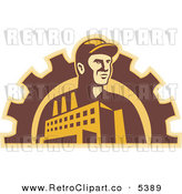 Vector Clipart of a Retro Factory Worker with a Building and Gear Cog by Patrimonio