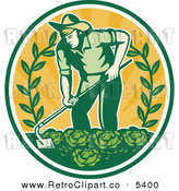 Vector Clipart of a Retro Farmer in a Cabbage Patch Crop over Orange Rays by Patrimonio