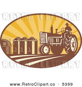 Vector Clipart of a Retro Farmer on a Tracter in a Crop with Silos in the Background by Patrimonio
