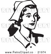 August 19th, 2017: Vector Clipart of a Retro Female Nurse Facing Right by BestVector