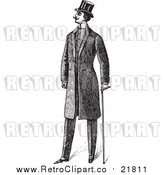 Vector Clipart of a Retro Gentleman with a Cane by BestVector
