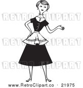 Vector Clipart of a Retro House Wife Presenting with One Hand by BestVector