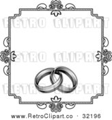 Vector Clipart of a Retro Invitation with Wedding Rings - Black and White by AtStockIllustration