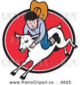 Vector Clipart of a Retro Junior Rodeo Cowboy on a Sheep over a Red Oval by Patrimonio