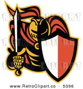 Vector Clipart of a Retro Knight Bearing a Shield and Sword by Patrimonio