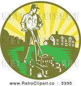 Vector Clipart of a Retro Landscaper Man Mowing a Lawn near a House by Patrimonio
