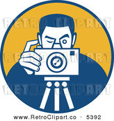 Vector Clipart of a Retro Male Photographer Taking a Picture over an Orange Circle by Patrimonio