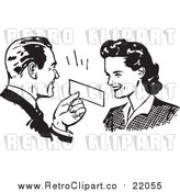 Vector Clipart of a Retro Man Presenting a Coupon to a Woman by BestVector