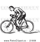 August 19th, 2017: Vector Clipart of a Retro Man Riding a Bicycle by BestVector