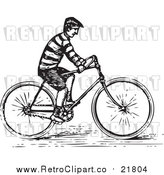 August 19th, 2017: Vector Clipart of a Retro Man Riding a Bike by BestVector
