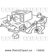 Vector Clipart of a Retro Man Trying to Take a Phone from a Woman Black and White by Picsburg