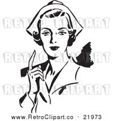 August 19th, 2017: Vector Clipart of a Retro Nurse Holding up One Finger by BestVector