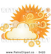 Vector Clipart of a Retro Orange Cloud Floral and Burst Frame by Amanda Kate