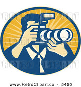 Vector Clipart of a Retro Photographer Man Using a DSLR Zoom Lense Camera in an Oval of Rays by Patrimonio