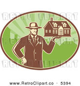 Vector Clipart of a Retro Real Estate Agent Holding a House over a Green Oval by Patrimonio