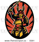 Vector Clipart of a Retro Samurai on Horseback with a Raised Katana Sword over Rays by Patrimonio