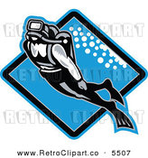 Vector Clipart of a Retro Scuba Diver Swimming Underwater over a Blue Diamond by Patrimonio