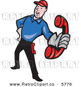 Vector Clipart of a Retro Telephone Repair Guy Holding out a Red Receiver by Patrimonio