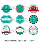 Vector Clipart of a Retro Turquoise Restaurant Labels on White by Seamartini Graphics