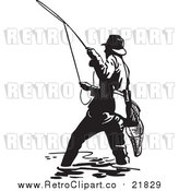 Vector Clipart of a Retro Wading Fisherman Casting a Line by BestVector