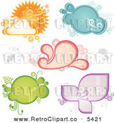 Vector Clipart of a Retro Weather and Frames by Amanda Kate