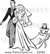 August 19th, 2017: Vector Clipart of a Retro Wedding Couple by BestVector