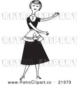 Vector Clipart of a Retro Woman Presenting with Both Arms by BestVector