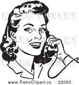 Vector Clipart of a Retro Woman Smiling and Chatting on a Phone by BestVector