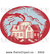 Vector Clipart of a Retro Woodcut House with Smoke Rising from the Chimney on White by Patrimonio